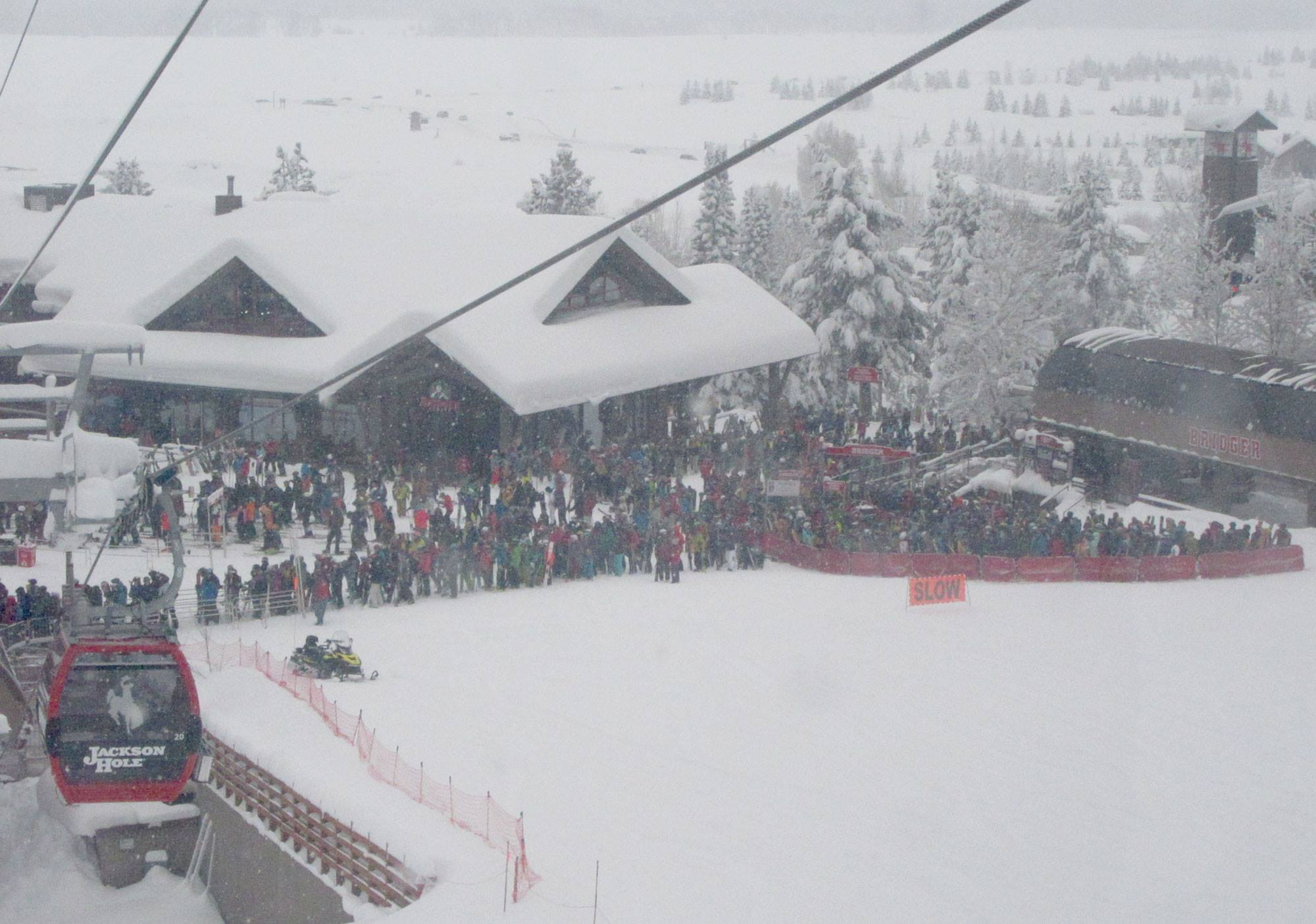 Powder gondola queue