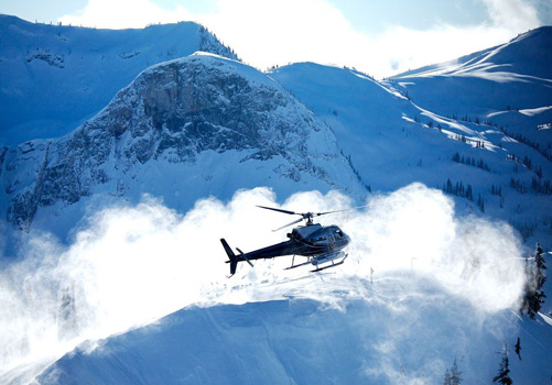 Small group heliskiing in an A-Star or Bell 407