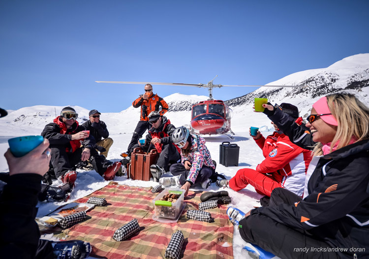 TLH Heliskiing - a daily picnic lunch on the mountain is a highlight of the trip