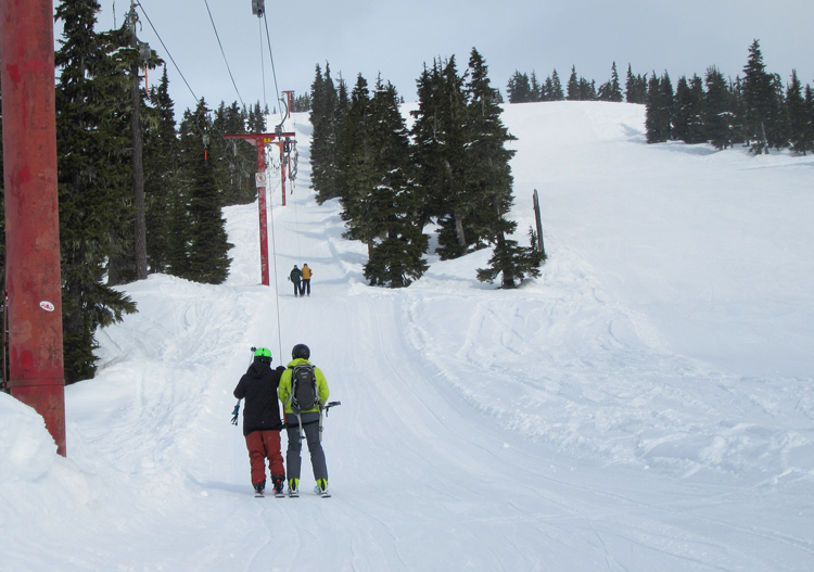 The upper part of Shame Mountain ski area