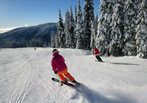 Highway wide groomed run at Sun Peaks BC