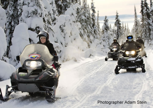 Snowmobiling at Sun Peaks
