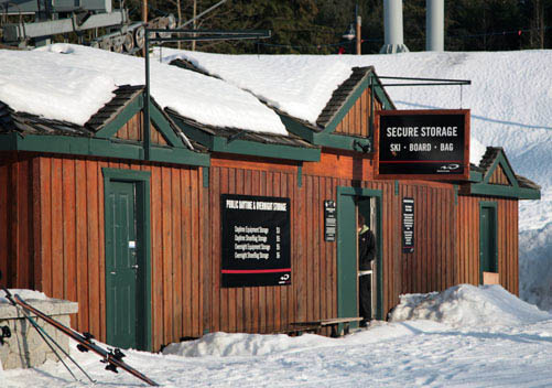 There are lots of ski and snowboard storage facilities at the base area