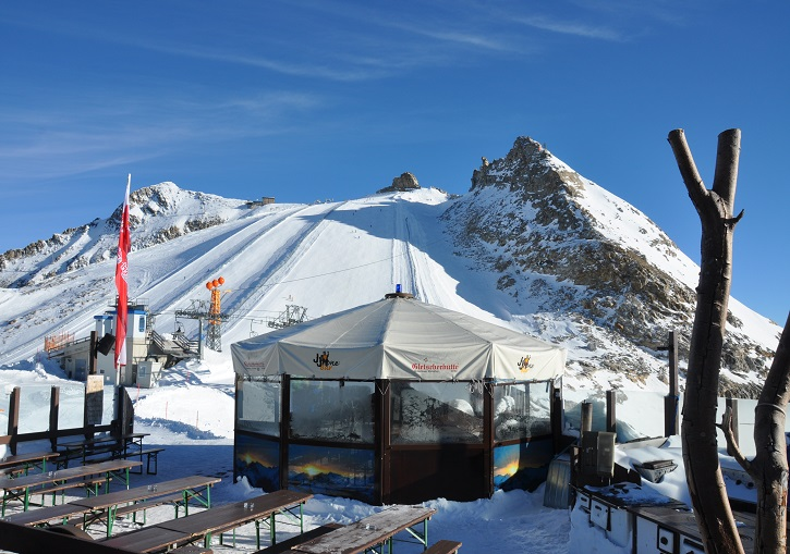 Outdoor area of the Gletscherhutte at 3050m elevation.