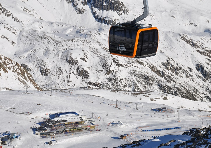 Modern lifts at Stubai Glacier near Innsbruck.
