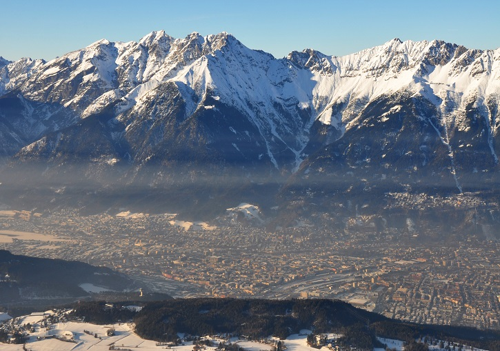 Mountains soar 2000m above Innsbruck.