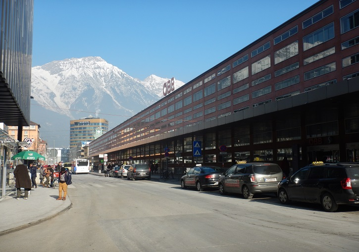 Innbruck's central train & bus station - gateway to Europe's best ski resorts.