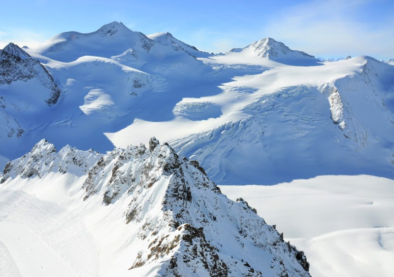 Pitztal Glacier ski resort overlooks the beautiful Wildspitze.