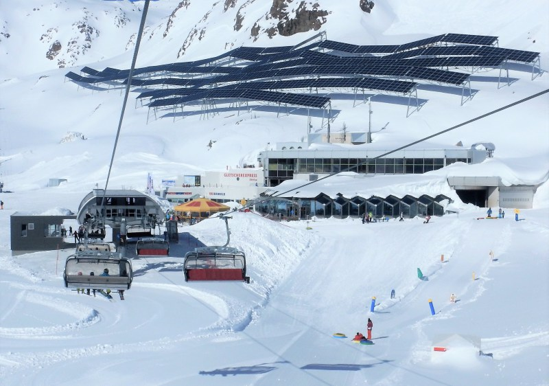 This incredible solar array sits above the Pitztal Glacier ski area base.