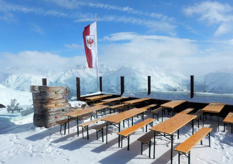 Panoramic views are big from the restaurant decks at Sölden.