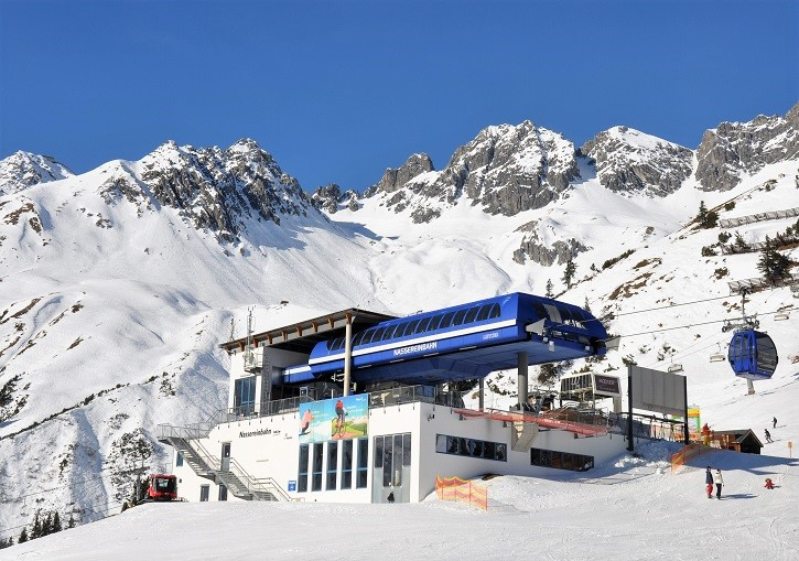 St Anton ski resort's Nassereinbahn gondola with part of its huge off piste behind.