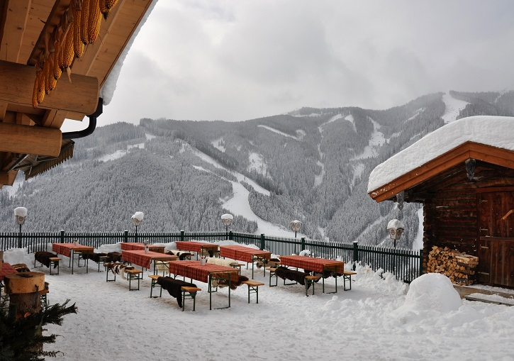 Austrian ski resorts have fine dining at wonderful, traditional mountain huts
