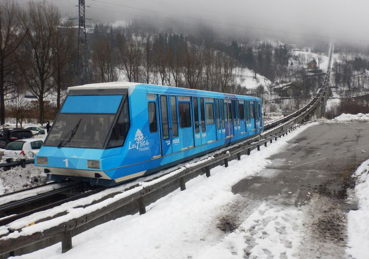 Ski Les Arcs ski resort via funicular direct from Bourg St Maurice train station.