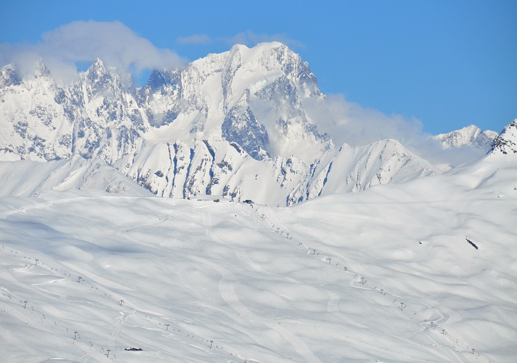 Mont Blanc looms over La Rosiere family ski resort near Bourg St Maurice.
