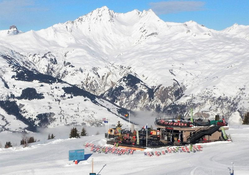 Les Arcs mountain restaurant L'Altiport is glorious once the sun is on it!