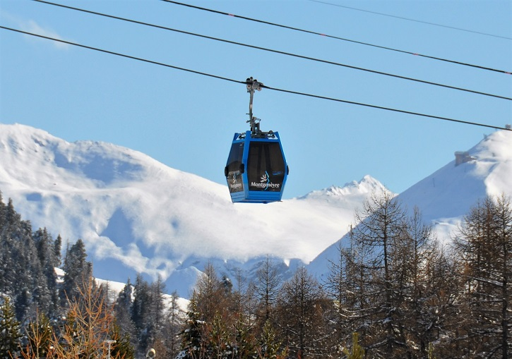 Modern lifts at Montgenevre Ski Resort France.