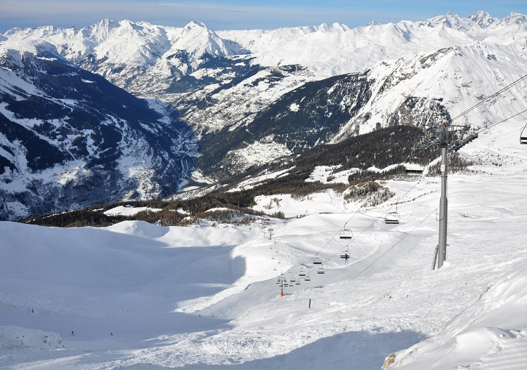 Sainte Foy ski resort is high above the legendary Tarentaise valley, France.
