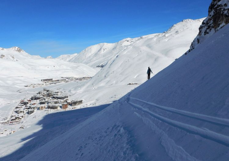 Solitude in the Tignes off-piste on an otherwise busy day.