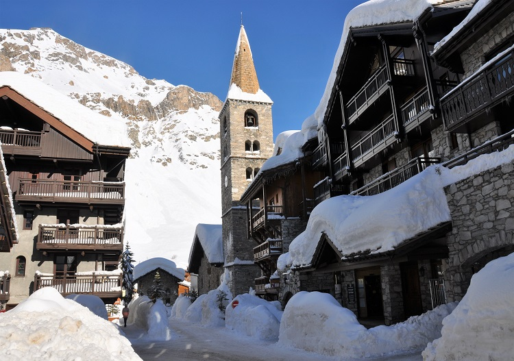 The village of Val d'Isere is beautiful.