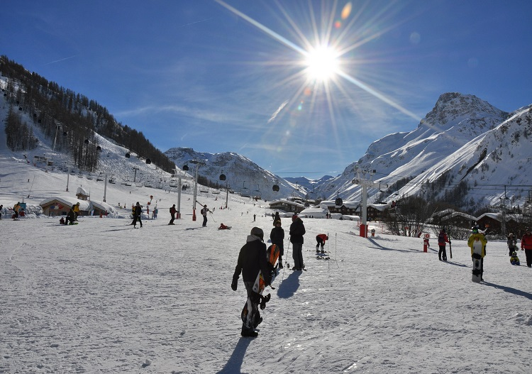 Val d'isere base area faces the sunny south, perfect for beginners.