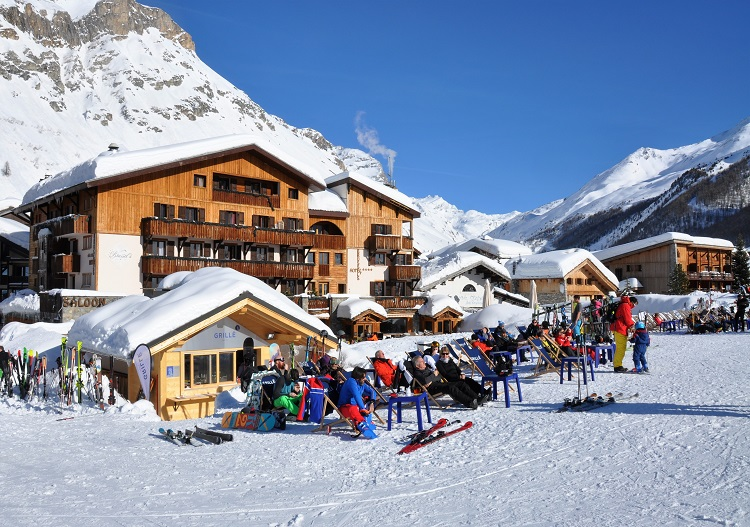Val d'Isere is a sun soakers delight, champagne in hand!