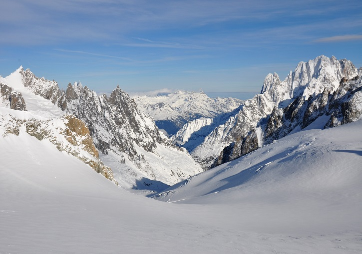 The classic Vallee Blanche above Chamonix, France.