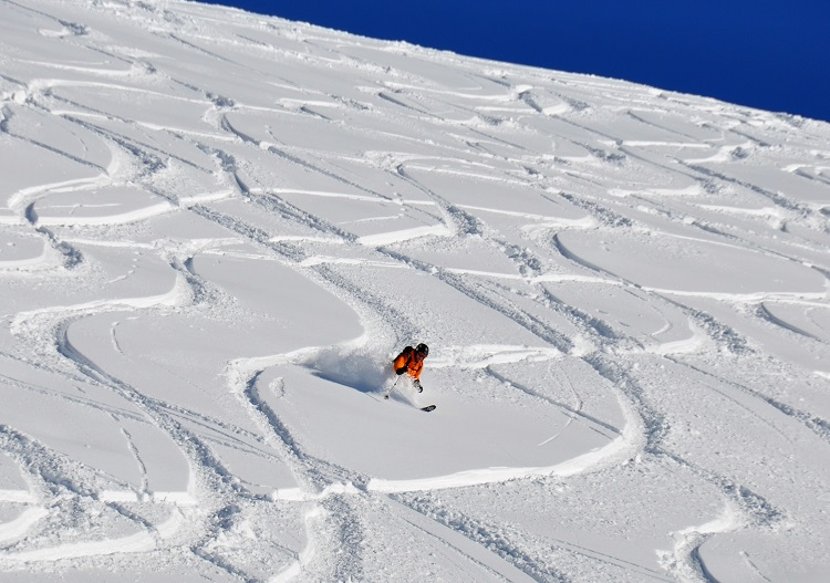 Leave powder ski signatures on huge alpine bowls at Sainte Foy.