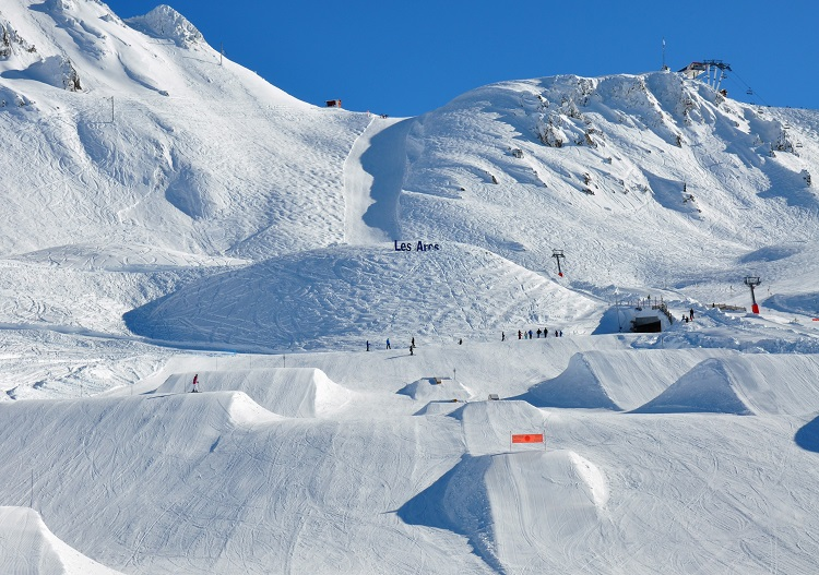 Jump for joy in mammoth terrain parks like Les Arcs in France.