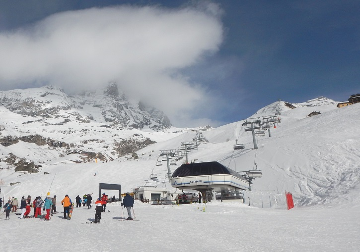 The Italian side of the Matterhorn (Monte Cervino). Cervinia ski resort.