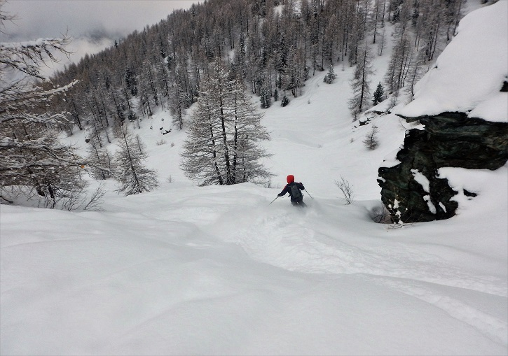 Skiing Italian off piste powder at Gressoney, part of Monterosa Ski.