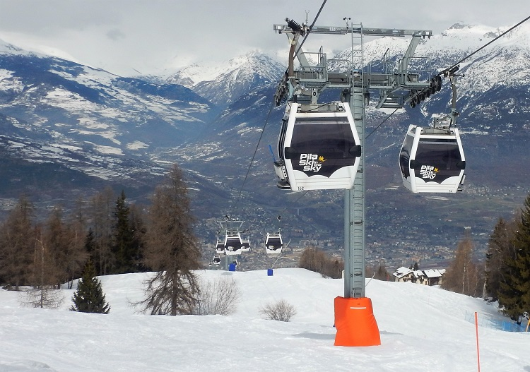Ride to Pila ski resort from the centre of town in Aosta.