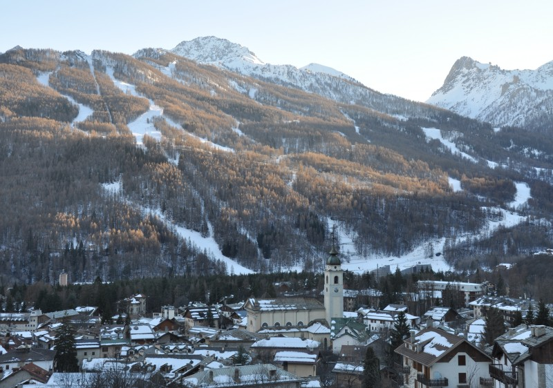 Bardonecchia ski resort with the town & Colomion-Melezet sector