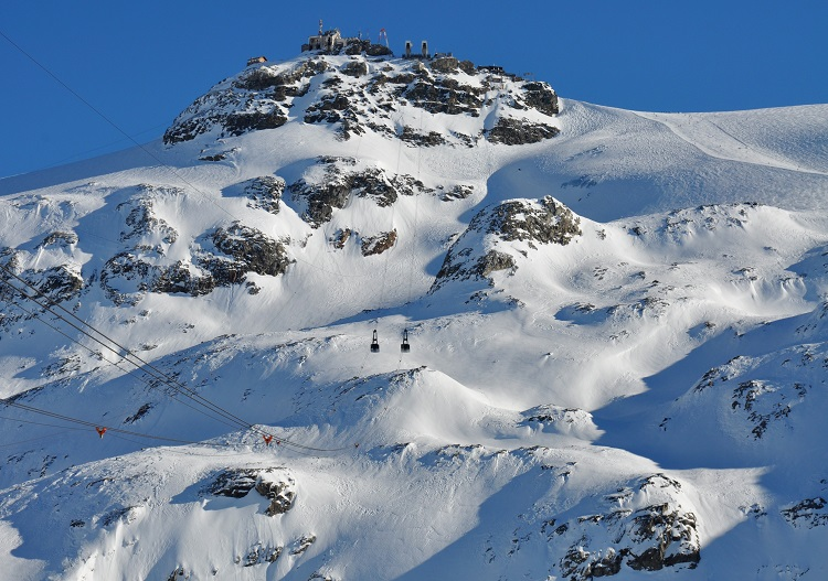Challenging freeride terrain  exists at Cervinia off the 3480m Testa Grigia.