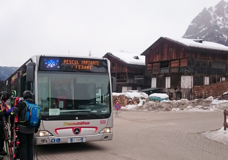 Buses link Civetta ski resort to Cortina and Marmolada.