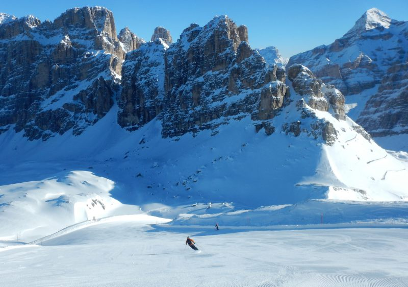 Ski Cortina's superb Armentarola trail all the way to Alta Badia.