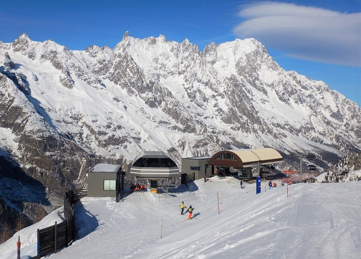 Courmayeur is overlooked by the spectacular Mont Blanc massif.