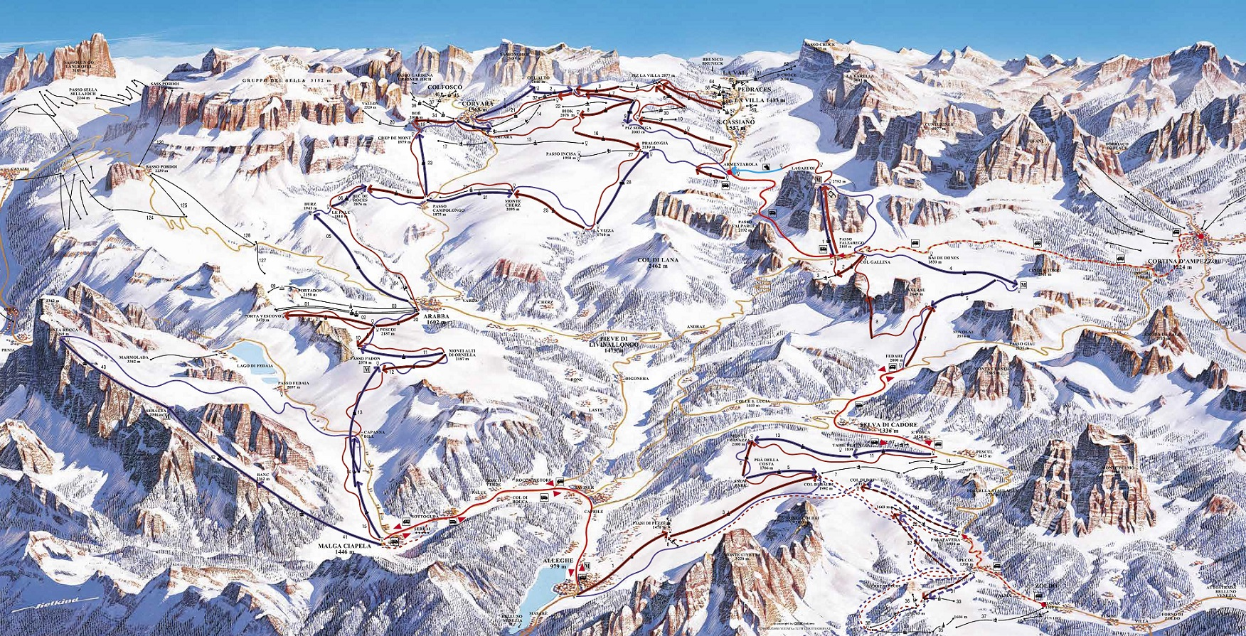 Dolomites Ski Resorts Italy Dolomites Ski Lifts Terrain Maps