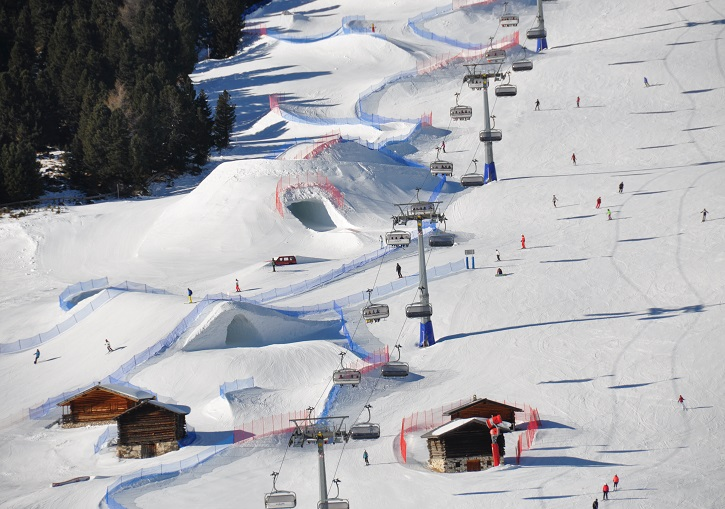 Fun slope at the Dolomites ski resort of Val Gardena.