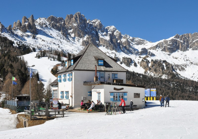 Mountain huts and rifugios abound in the Dolomites. Alta Badia ski resort.