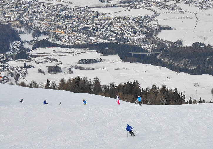 Great piste skiing at Kronplatz high above Brunico (Brunick).