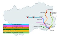 Aosta to Monterosa Train & Bus Route Map