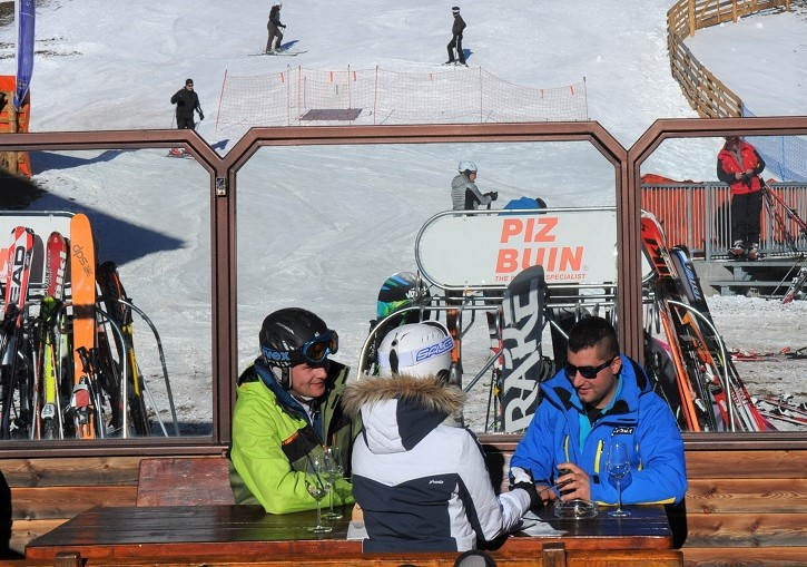The Schlemmer Berghotel has a sunny slopeside ski hutte deck.