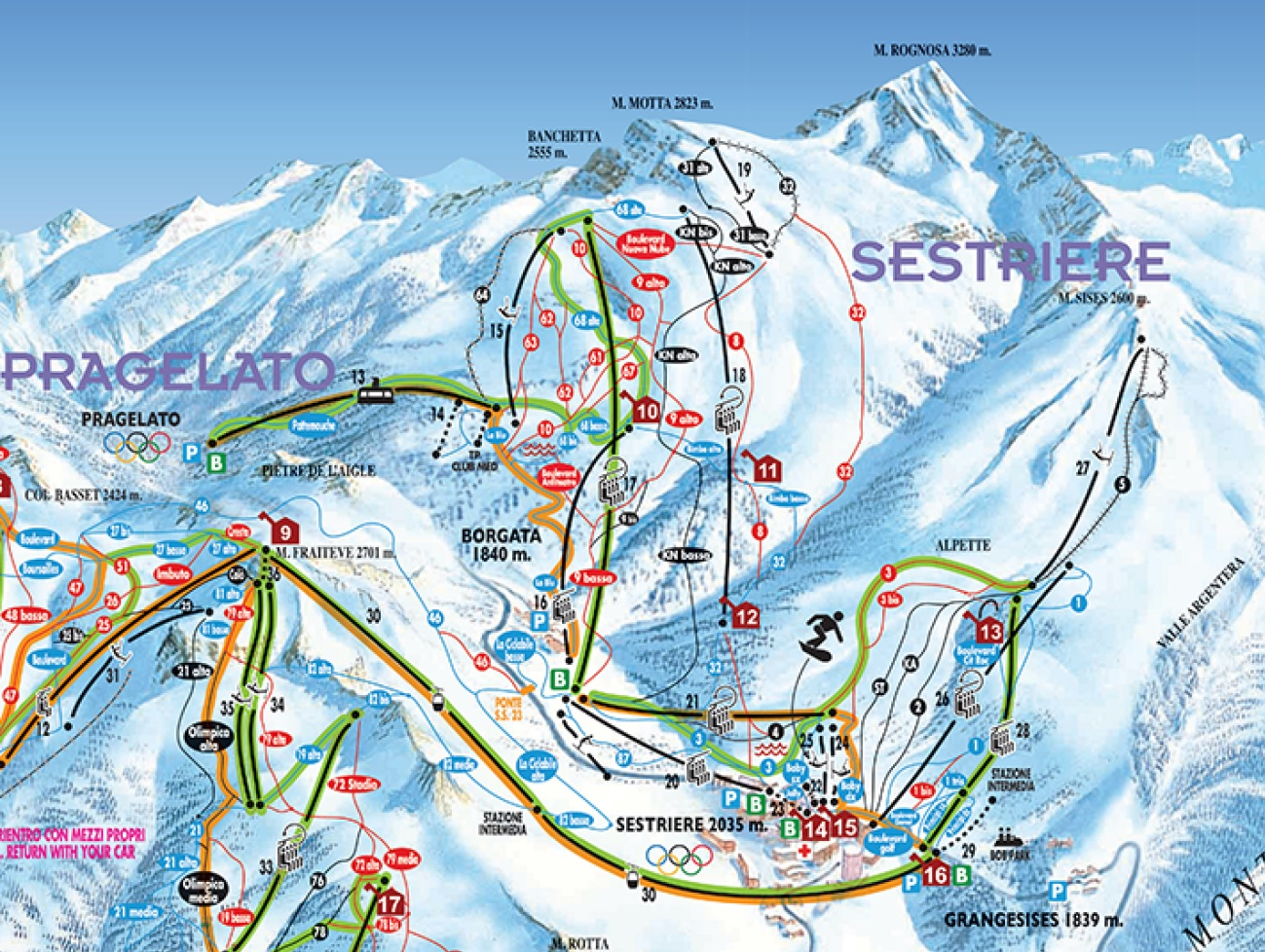 Skiing Sestriere Sestriere Ski LiftsTerrain Tickets Trail Maps