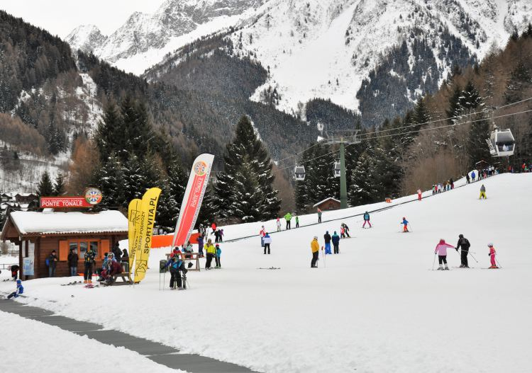 Tonale has sheltered skiing in the valley at Ponte di Legno.