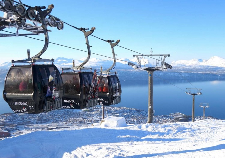Skiing above the Arctic Circle at Narvikfjellet ski resort.