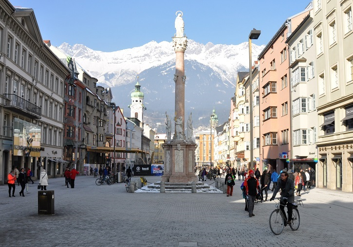 Ski Europe for the beautiful cities. Innsbruck, Austria.