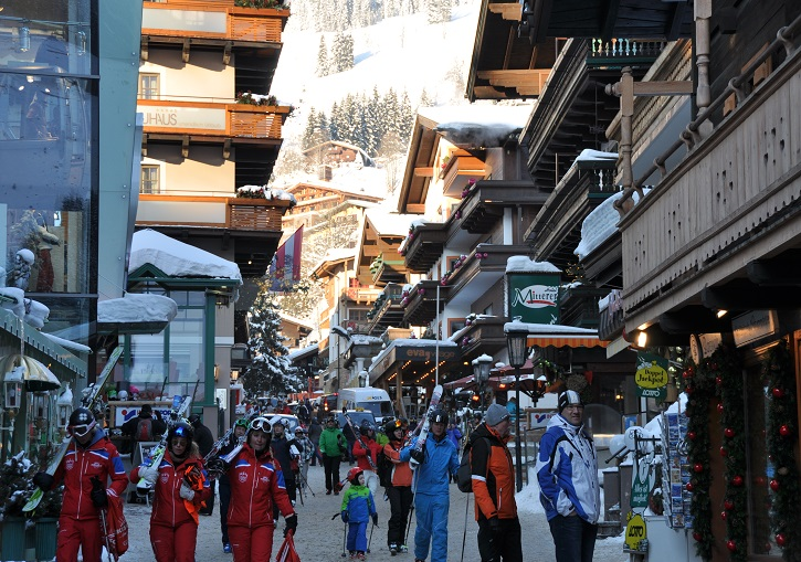 Ski Europe for vibrant ski village atmosphere. Saalbach, Austria.