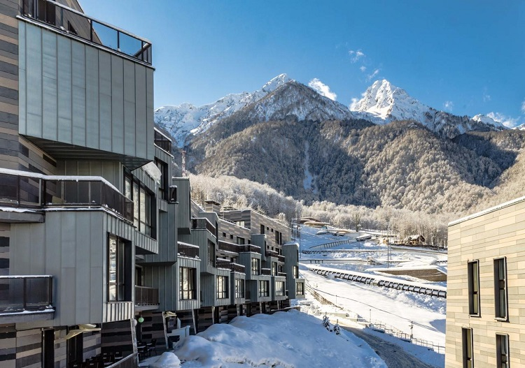 Modern apartments at Rosa Khutor ski resort.