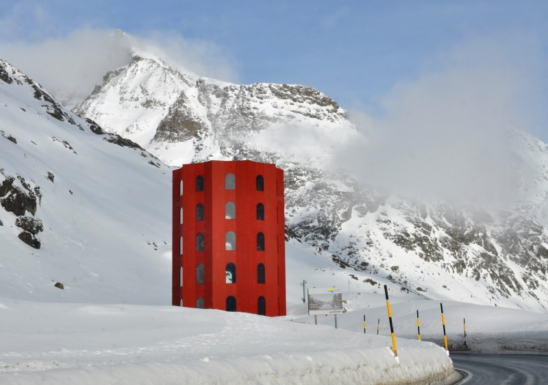 The amazing Julier Pass Theatre Tower is above Bivio.