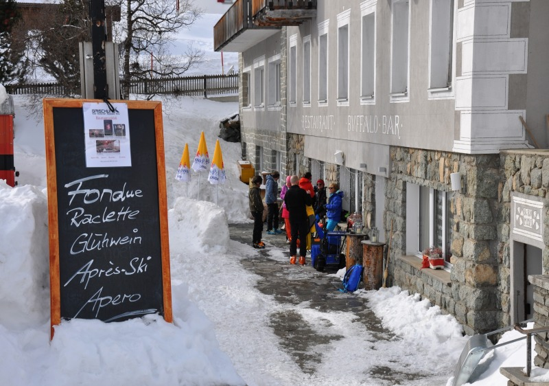Traditional restaurants are at the base of all ski lifts at Bivio.
